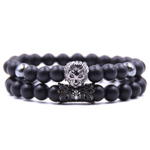 New Fashion Natural Stone Reiki Beads Charm Bracelet Sets Men Jewelry Micro-inlaid Lion Head Healing Elastic Bracelets For Women