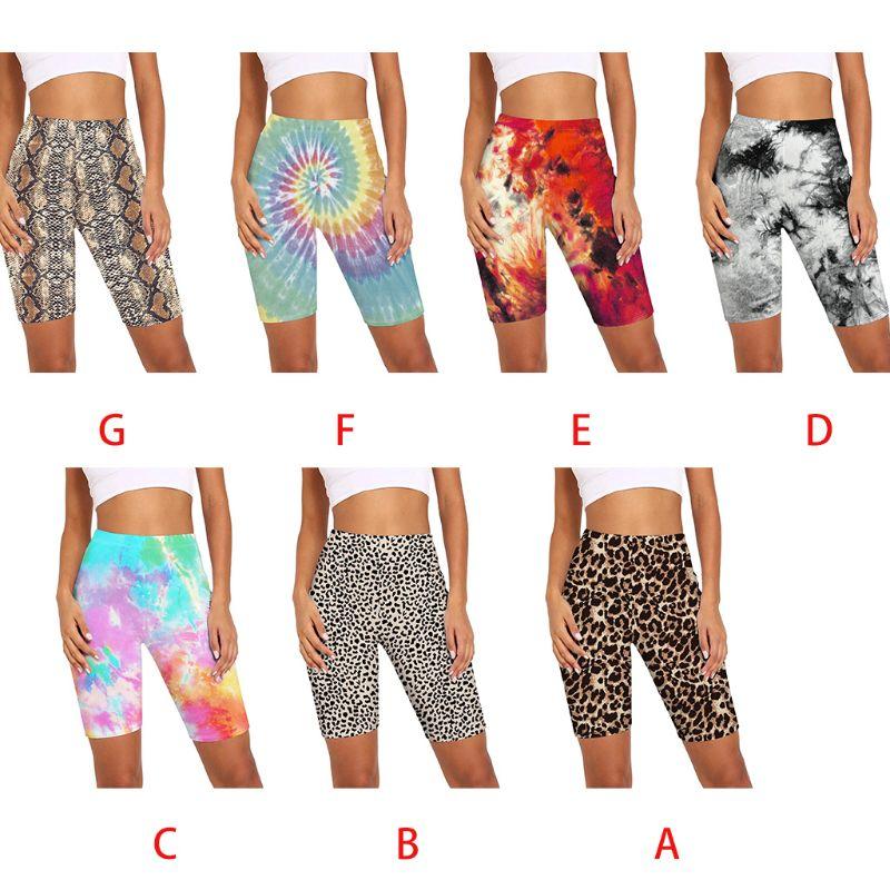 Женские шорты с высокой талией, леопардовые шорты со змеиным принтом, с цифровой печатью, для тренировок, фитнеса, велоспорта, уличная одежд...