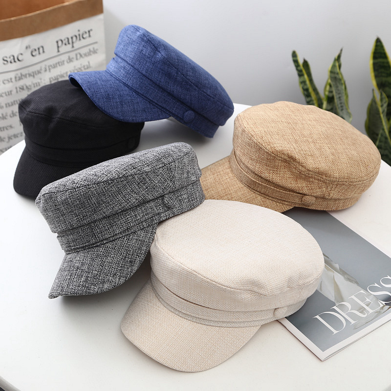 Vintage Solid Color Women Newsboy Caps Autumn Winter Warm Octagonal Hats Girls Korean Fashion Soft Linen Ladies Artist Beret