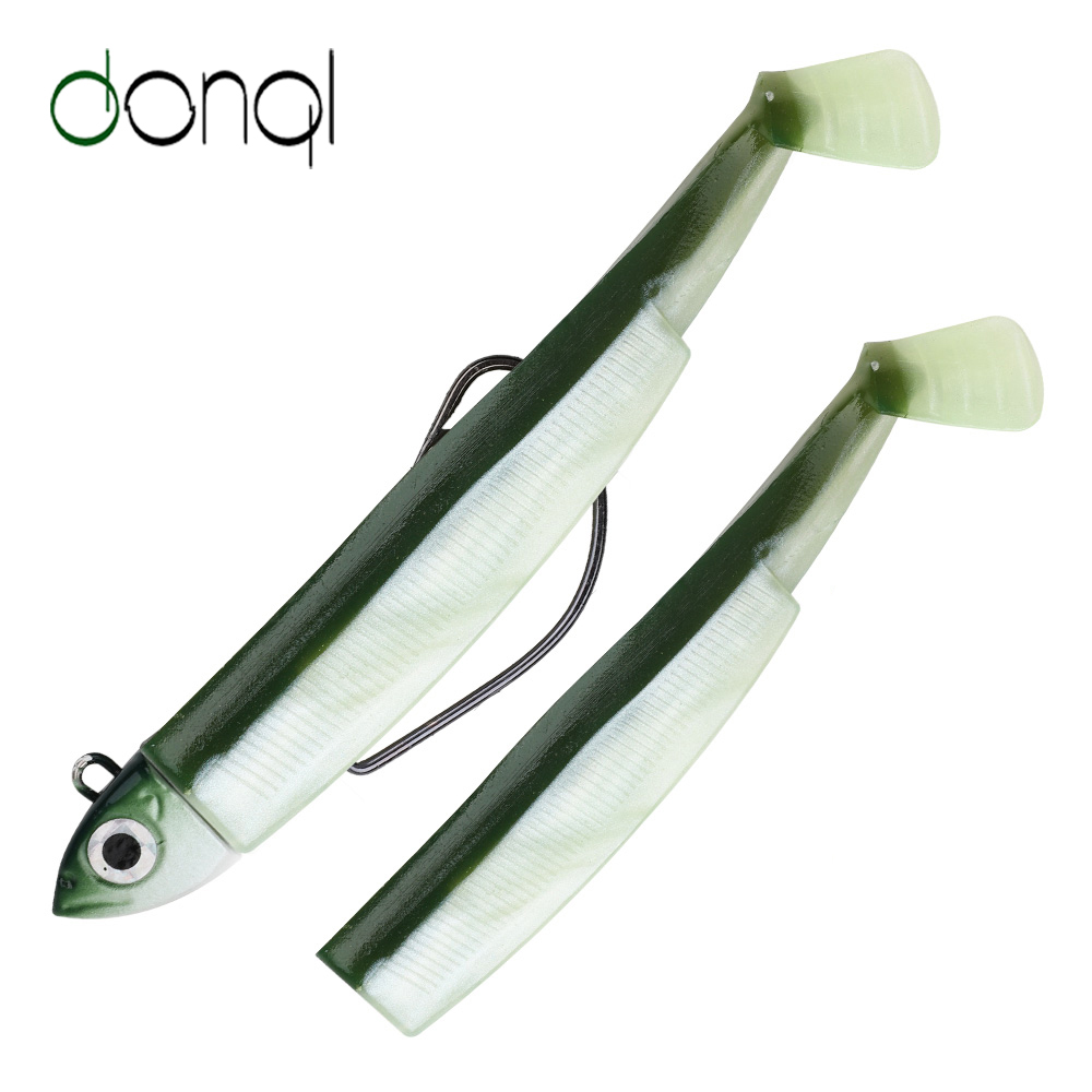 DONQL Fishing Lure Silicone Soft Bait Jig Wobbler Swimbait Hard Lead Head Minnow With Offset Crank Hook Fishing Lure Set Tackle