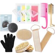 11PCS/ Set Bath Set Sisal Bath Rub Hair Removal Wax Paper Hook Hair Comb Feet File Body Massage Brush