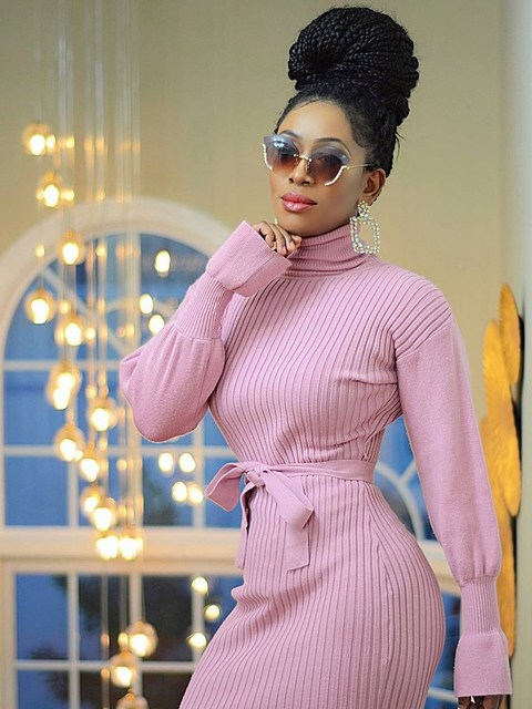 WJFZQM Turtleneck Basic Ribbed Knitted Sweater Dress Autumn Ruffles Sleeve Sashes Midi Sexy Bodycon Winter Office Pink Dresses 1