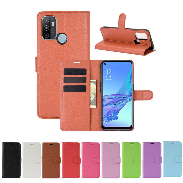 500Pcs/Lot Lychee Pattern Flip PU Leather Wallet Phone Case For Oppo Realme 7 Pro 7i C17 X7 Reno 4 SE 4G F17 5G A15 A72 A73 3