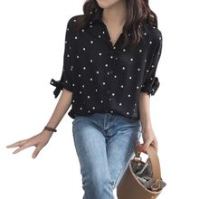 Womens Lace Up Bowknot Half Sleeves Blouse Button Down V-Neck Causal Loose Tops Vintage Polka Dot Printed Shirts Plus Size M-4XL womens plus size roll up long sleeve metallic pineapple printed stand collar blouse button down v neck casual loose tops