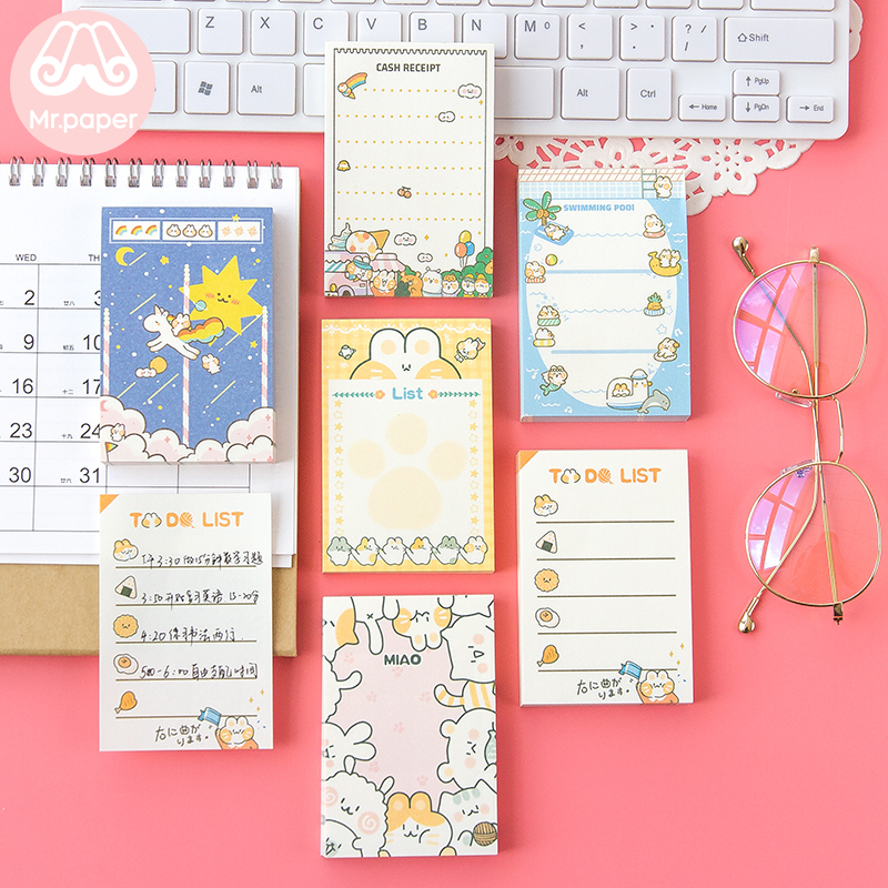 Mr Paper 100pcs/lot Kawaii Cartoon Meaterball Loose Leaf Memo Pads Cute Kitty School Office Supply Write Down Points Memo Pads