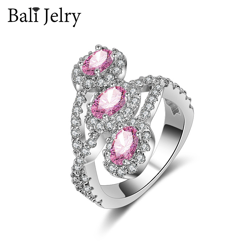 Trendy 925 Silver Ring with Oval Shape Pink Zircon Gemstone Jewelry Ring Ornament Gift for Women Wedding Promise Party Wholesale