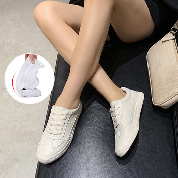 цена на 2020 Women Sneakers Flats Casual Shoes Genuine Leather Shoes Lace Up Female White Shoes Fashion Flats Vulcanized Shoes Sneakers