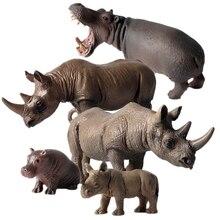 Промо-акция! Детская модель животного 5 носорог Бегемот дикая природа набор носорог Бегемот фигурка статическая твердая модельная игрушка