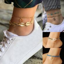 цена на Fashion Colored  Beaded Anklet Alloy Shell Conch Starfish Pendant Bracelet on The Leg Gold Silver women Ankle Chain Foot Jewelry