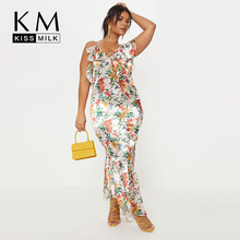 Kissmilk Women Sexy Beach Style Loose Flower Print Plus Size Sleeveless Spaghetti Floral Asymmetrical Hem Maxi Dress