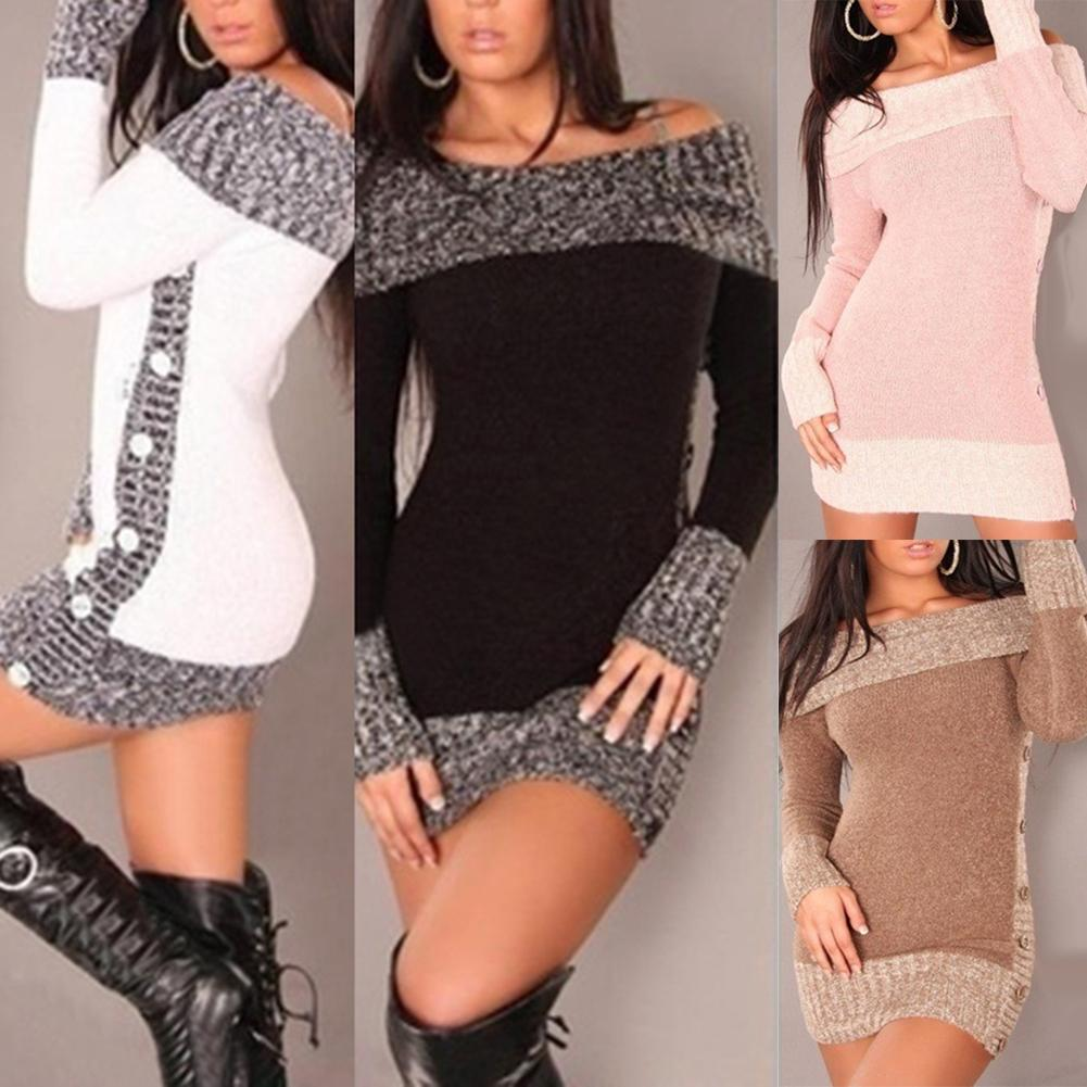 Women Sexy Sweater Long Sleeve Sweater Dress Casual Autumn Winter Dress Off-the-shoulder Button Colorblock Long Sleeve Sweater