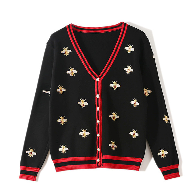 Bee Embroidery Cardigan with Long Sleeve for woman