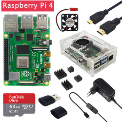 Raspberry Pi 4 Модель B 2 ГБ/4 ГБ/8 ГБ ОЗУ + чехол + вентилятор + радиатор + адаптер питания + sd-карта 32/64 ГБ + Кабель Micro HDMI для RPI 4B