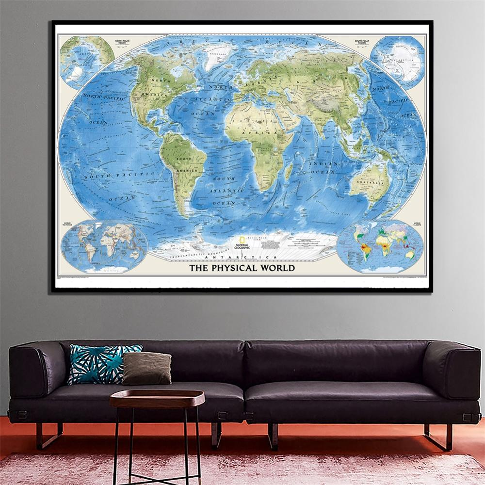 The World Physical World With World Climate And Tectonics Map HD Wall Decor Canvas Painting For Home/Office Wall Decor