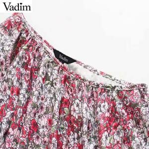 Image 3 - Vadim 女性ファッション花柄ミニドレスノースリーブ弾性ウエスト a ラインの女性のカジュアルフリルドレス vestidos mujer QD163