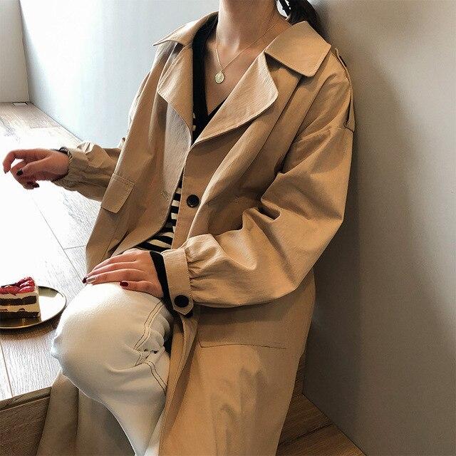 Trench Long automne printemps 2020 coupe-vent mi-long femmes couleur unie à manches longues pardessus