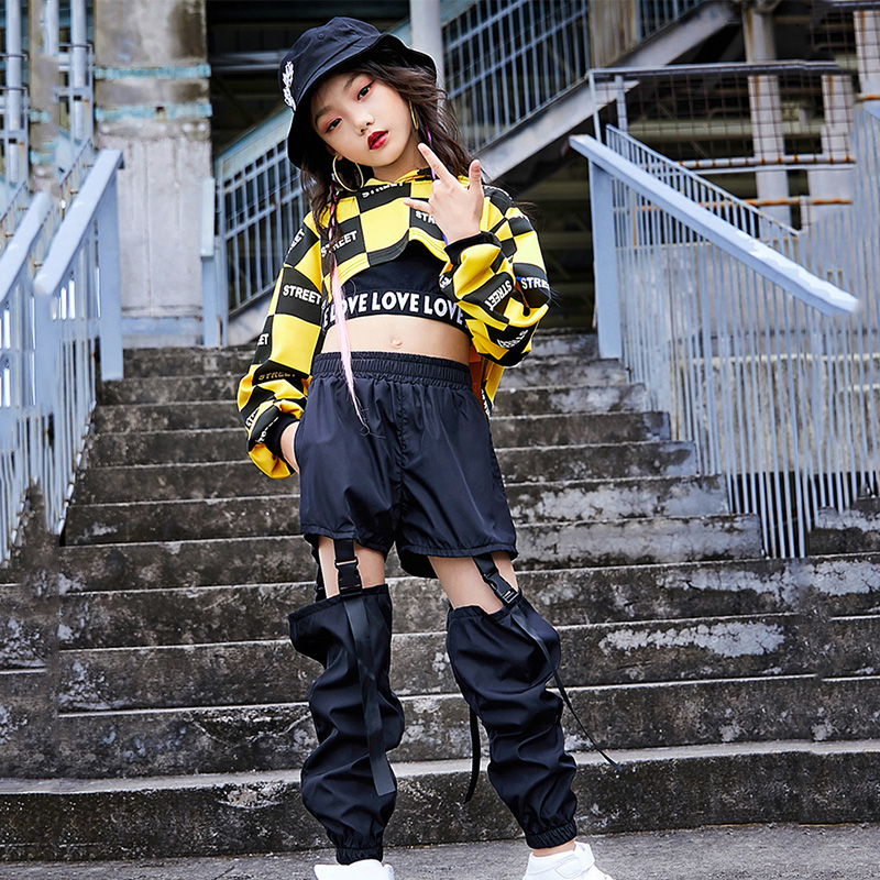 Kids Jazz Dance Costumes Hip Hop Dancing Clothes For Girls Long Sleeve Cotton Children Street Dance Clothing Stage Suits DN3944