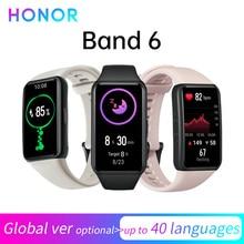 Honor Band 6 إصدار عالمي/CN سوار Smartband AMOLED لون شاشة تعمل باللمس الدم الأكسجين SpO2 معدل ضربات القلب النوم السباحة مقاوم للماء