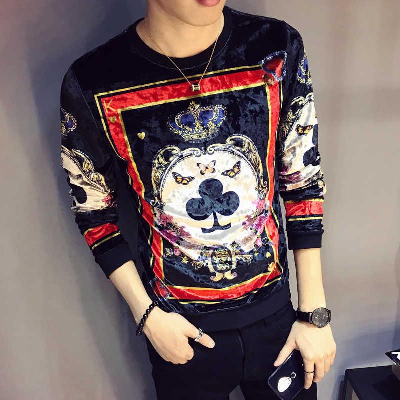 럭셔리 디자인 인쇄 T 셔츠 옴므 로얄 인쇄 남자 벨벳 T 셔츠 클럽 복장 남자 슬림 맞는 긴 소매 O 넥 벨벳 T 셔츠