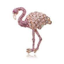 Bonito Cristal Broches Unisex Homens e Mulheres Broche Pin Pássaro Flamingo Animal Rosa Opal Broches Moda Casaco Vestido Acessórios