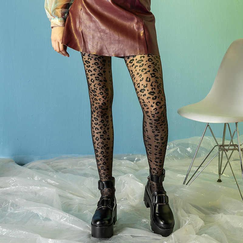 Fashion Wanita Macan Tutul Celana Ketat Dicetak Transparan Sewenang-wenang Memotong Pantyhose Tipis Kaki Seksi Wanita Ultra Tipis Pantyhose