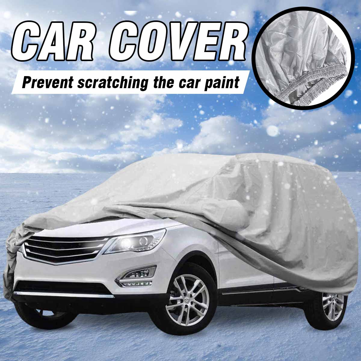 Universal Car Cover L XL Size Heavy Duty Anti UV Waterproof Rain Resistant Anti Scratch Dustproof Durable SUV Full Car Cover