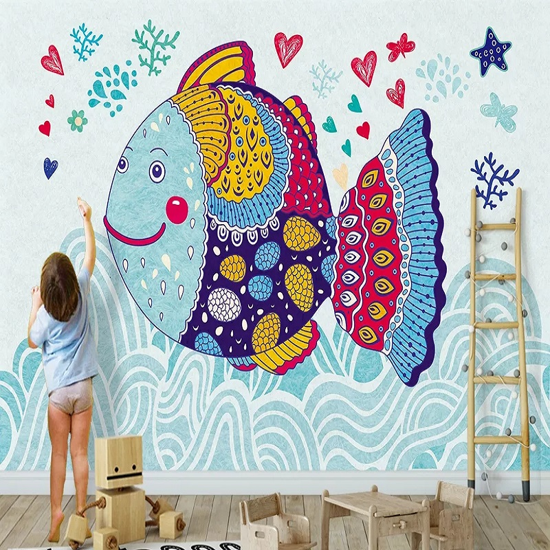 Custom Large Mural 3D Wallpaper Colorful Fish In Cartoon Simple Style Baby Bedroom Mural TV Back Wall Decor Deep 5D Embossed