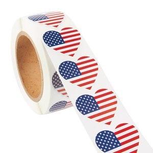 Американский флаг наклейка рулон-500-графа в форме сердца Флаг США наклейки патриотические США клейкая наклейка 1 дюйм