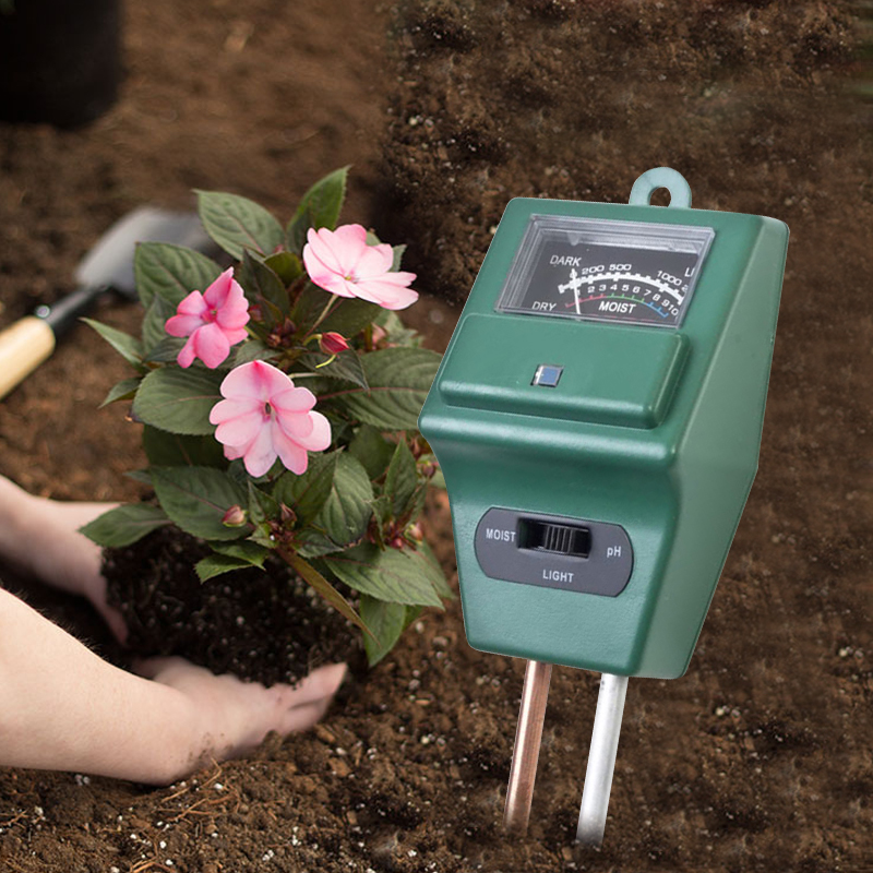 3 In 1 Soil PH Meter Flower Pot Hygrometer Soil Tester Plants Growth Moisture Light Intensity Meter Instrument Garden Tools