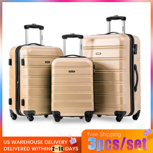 3pcs/set 4Color High Quality ABS+PC Rolling Luggage Lightweight Travel Suitcase On Wheels For Bussiness