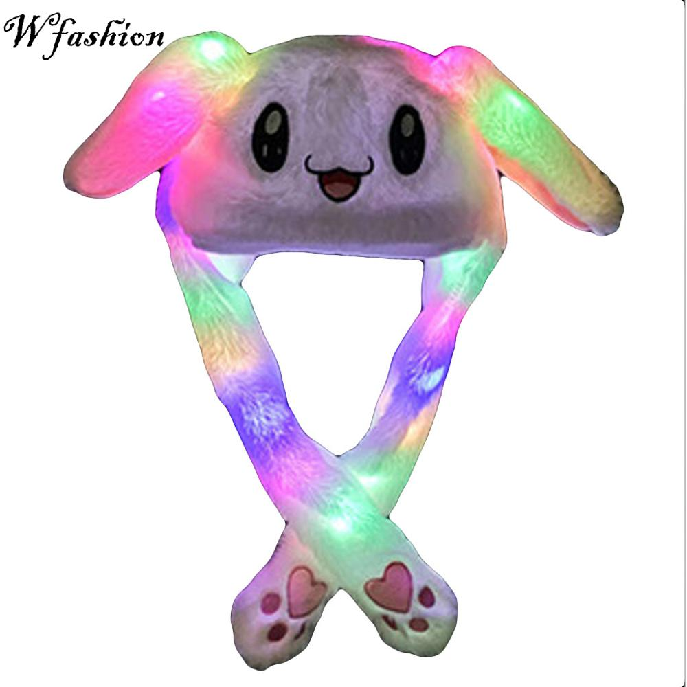 Free Ship 2019 Fashion Moving Hat Glowing Rabbit Ears Plush Sweet Cute Airbag Cap 5 Color Can Be Choose