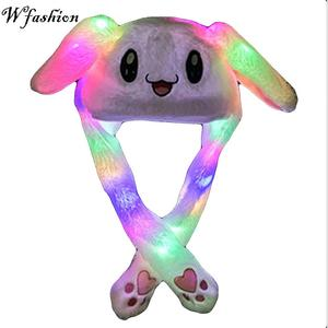 free ship 2019 Fashion Moving Hat Glowing Rabbit Ears Plush Sweet Cute Airbag Cap 5 color can be choose(China)