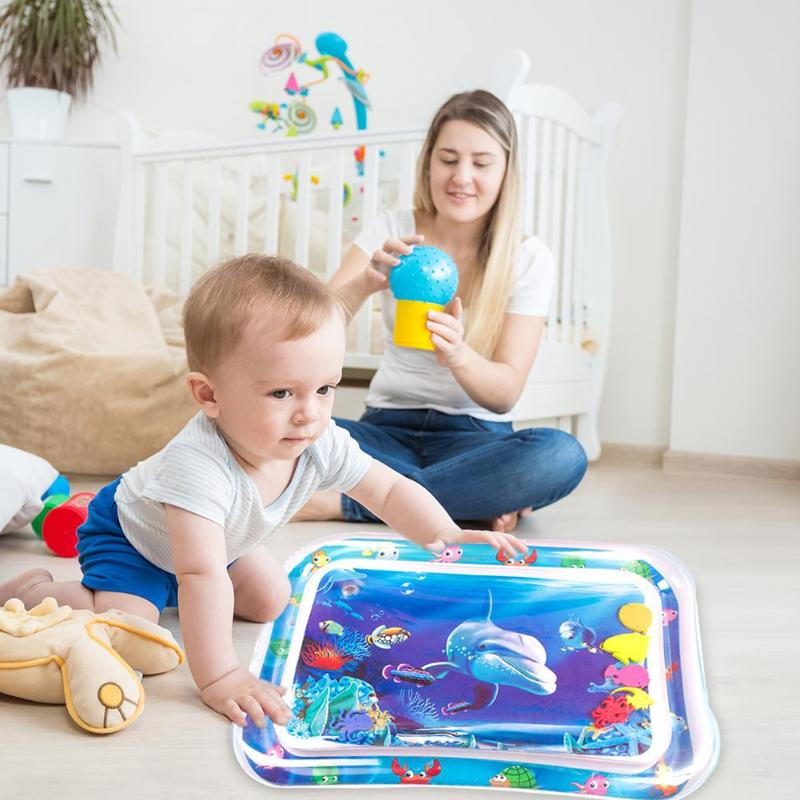 Baby Kids Summer Water Play Mat Inflatable Infant Tummy Time Playmat Toddler For Baby Fun Activity Play Pool Cushion Baby Toys