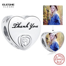 Sterling Silver 925 Heart CZ Charms DIY Thank You Customize Photo Beads Fit Original Charm Bracelet Silver 925 Jewelry Making(China)