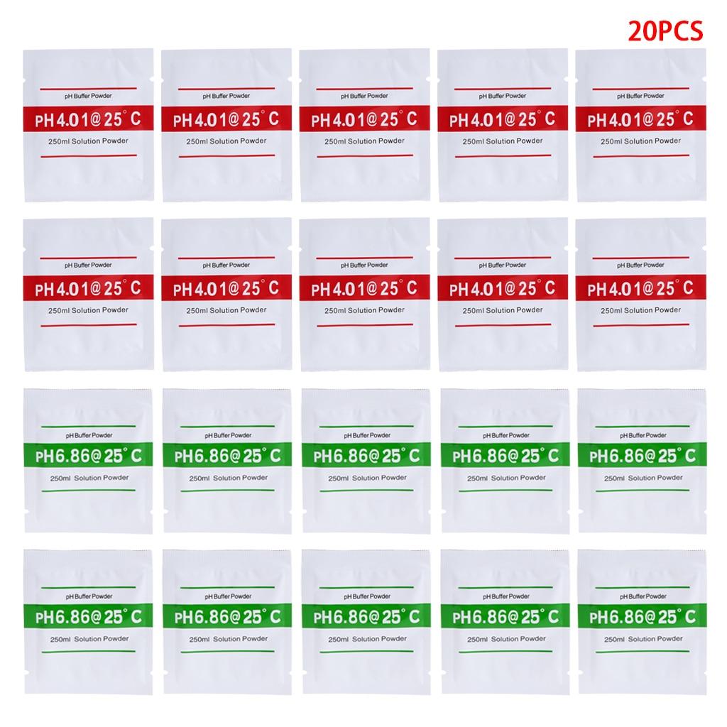 20 Pcs PH Buffer Solution Powder PH For Test Meter Measure Calibration 4.01 6.86 PH Meters     - title=