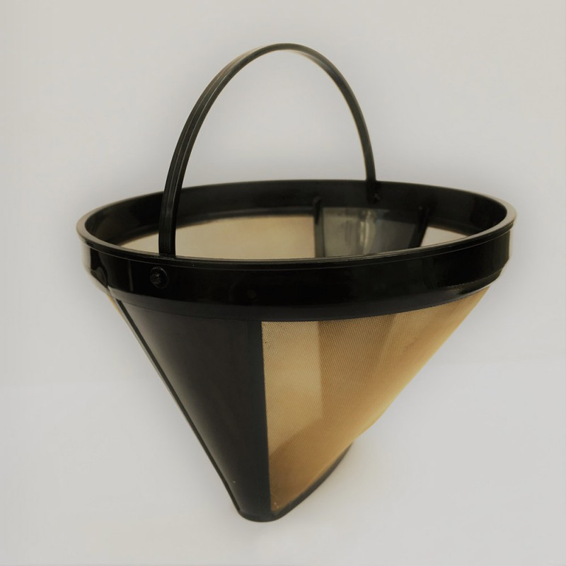 Cone-Style Reusable Coffee Filter Stainless Steel Coffee Maker Machine Filter Gold Mesh With Handle Cafe Coffees Tools