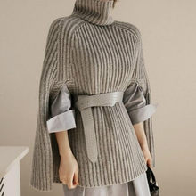 Women Sweater Pullover Autumn Winter Casual Knitted Turtleneck Poncho Sleeveless Solid Cape Female Sweaters Lady Clothes(China)