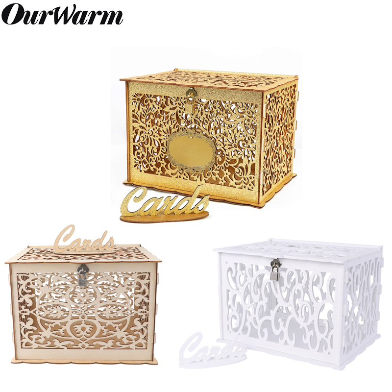 OurWarm DIY Wedding Card Box With Glitter Wooden Gift Box PVC Money Box With Lock Baby Shower Birthday Party Wedding Decorations