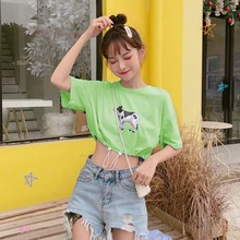 DCartoon Cow Print Women\'s T Shirt 2019 Summer Casual Fashion Round Neck T-Shirt Short Sleeve Drawstring Ladies Tee Tops stylish women s round neck short sleeve print knot t shirt