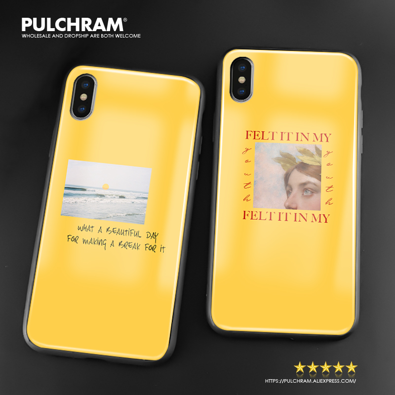 aesthetics yellow quotes song lyric soft silicone glass phone case