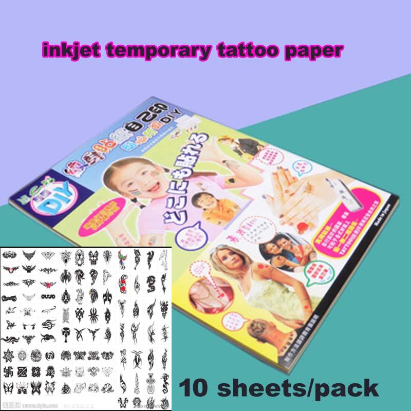 A4 Size Inkjet Laser Temporary Tattoo Transfer Paper White And Fake Tattoo Men Waterproof Temporary Henna Tattoos DIY Art