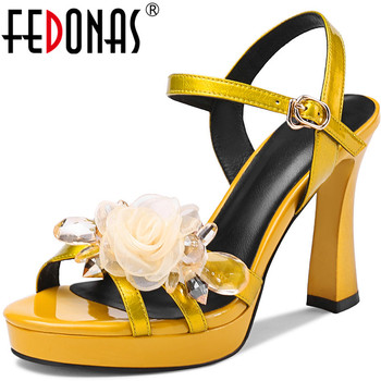 FEDONAS Sexy High Heels Platform Pumps Crystal Flowers Sandals New Prom Party Women Shoes 2020 Wedding Party Newest Shoes Woman