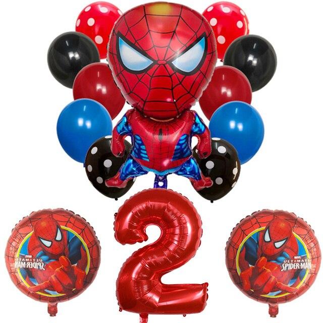 Ballon rond homme en Latex 14 pièces Spider Captain America | Ballon numérique, ballon pour décor de fête danniversaire, jouet pour enfants