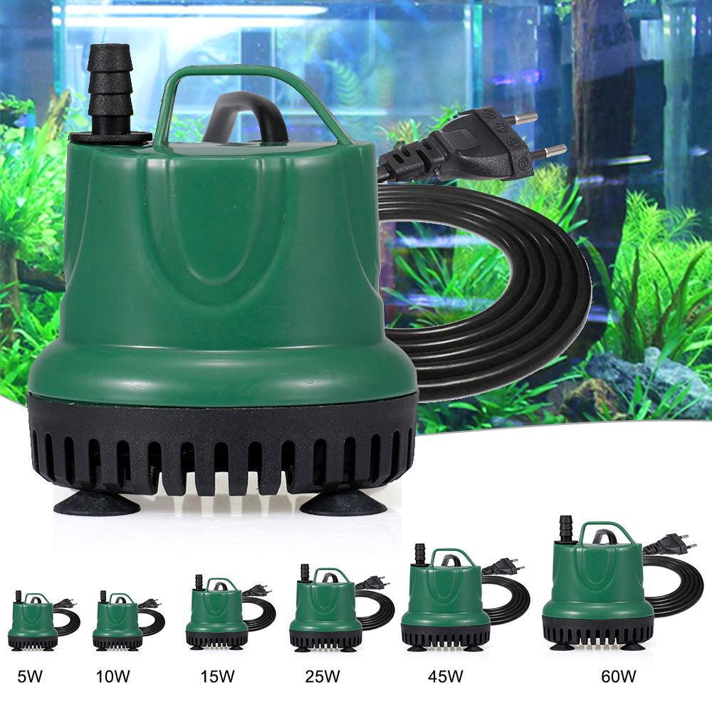 5W- 60W Aquarium <font><b>Pump</b></font> Submersible <font><b>Water</b></font> <font><b>Pump</b></font> Electric <font><b>Water</b></font> <font><b>Pump</b></font> with Power Cord IP68 Waterproof for Aquarium Fish Tank Supplies image