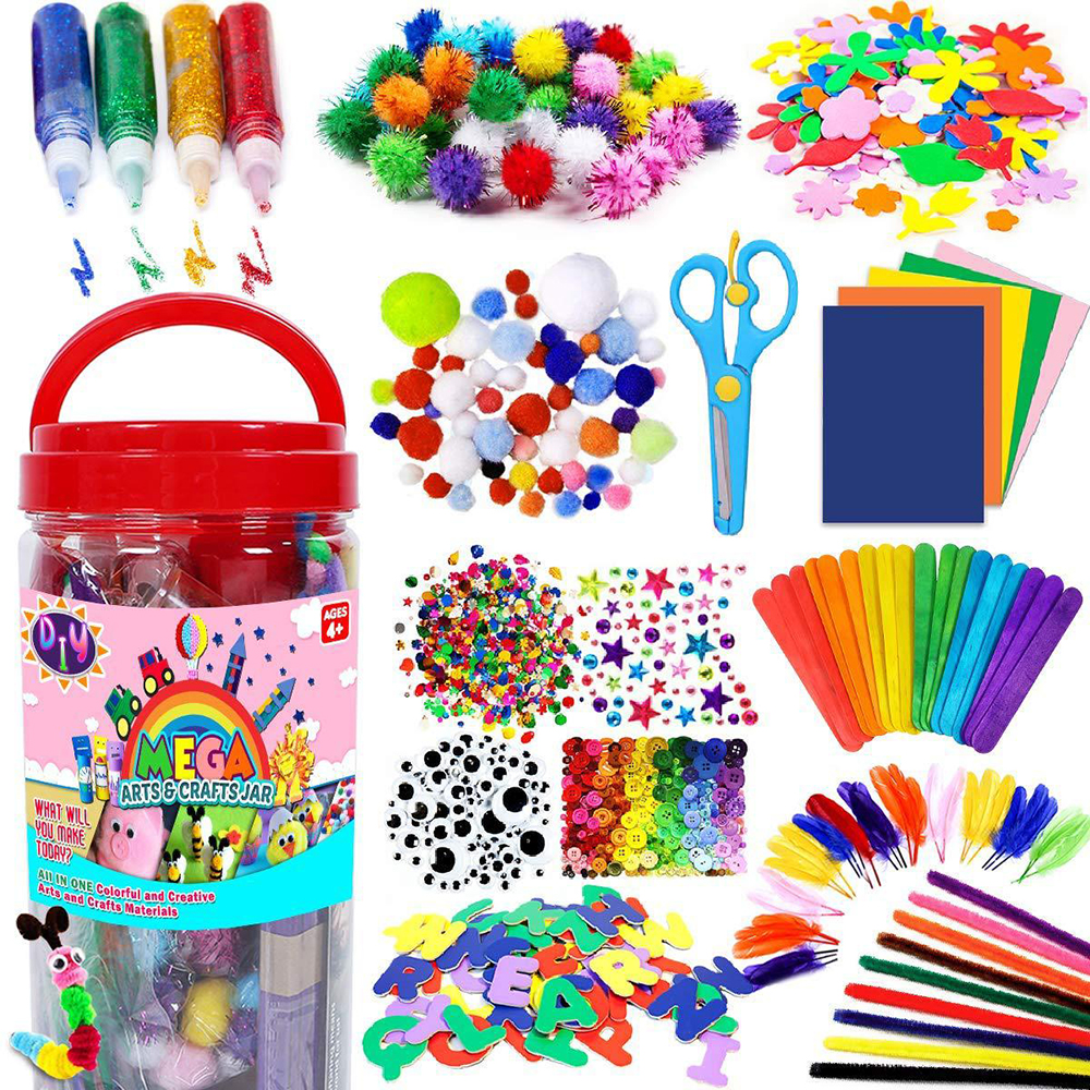 Diy artesanato artesanal conjunto de arte feltro tecido colorido pelúcia adesivos pompons olhos material papel para crianças brinquedos educativos