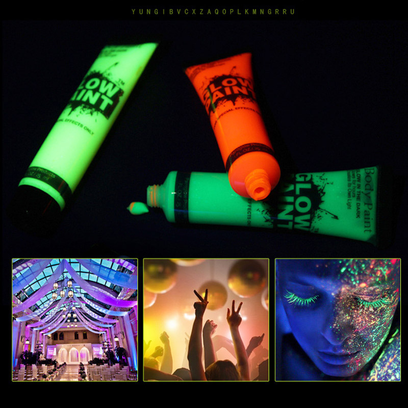 6 Pcs Body Art Paint Neon Fluorescent Party Glow In The Dark Toys Halloween Cosplay Makeup Kids Face Paint UV Glow Painting