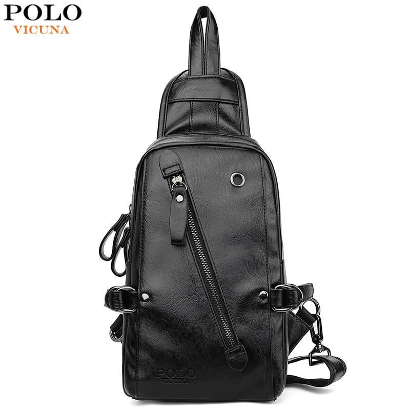 VICUNA POLO mode noir sac à bandoulière en cuir pour hommes solide Patchwork loisirs hommes sac de messager sacs à bandoulière