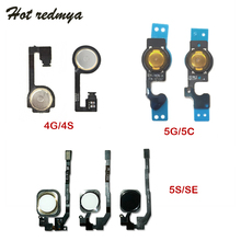 Replacement Home Button with Flex Cable For iPhone 4 4S 5 5S 5C SE Sensor Ribbon Back Menu Button Key Spare Parts No Touch id smart id card printer ribbon with kits part no 650643 siadc s ymcko