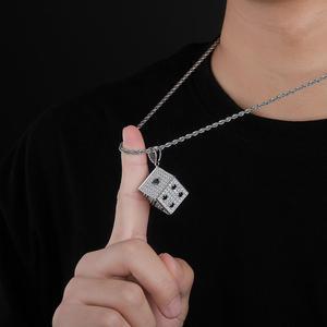 Image 3 - Topgrillz 光沢のある正方形のサイコロペンダントネックレス銅金銀色アイスアウト立方ジルコン男性ヒップホップジュエリーストリート danc ギフト