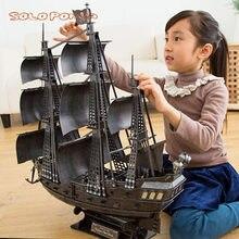 Super enorme 68 cm grande rainha anne vingança de piratas do caribe conjunto de papelão navio veleiro modelo kits de construção brinquedos